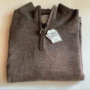 NWT Jos A. Bank Brown 1/4 Zip Pullover Sweater